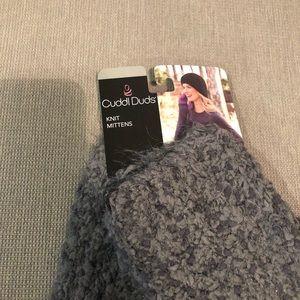 Grey knit mittens